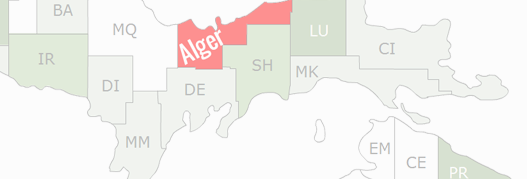 Alger County Map