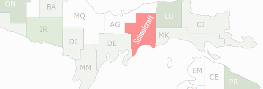 Schoolcraft County Map